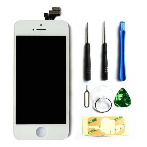 LCD Touch Screen Digitizer Frame Assembly Full Set LCD Touch Screen Replacement for iPhone 5 - White (I Phone 5 Replacement Parts)