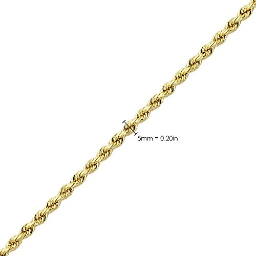 LoveBling 14K Yellow Gold 5mm Diamond Cut Rope Chain Necklace, Mens Womens with Lobster Lock (20) by LOVEBLING (Image #4)
