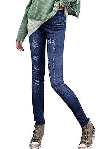 Song Qing Women Jeans Jeggings Stretchy Slim Skinny Pants Leggings Big Grinding