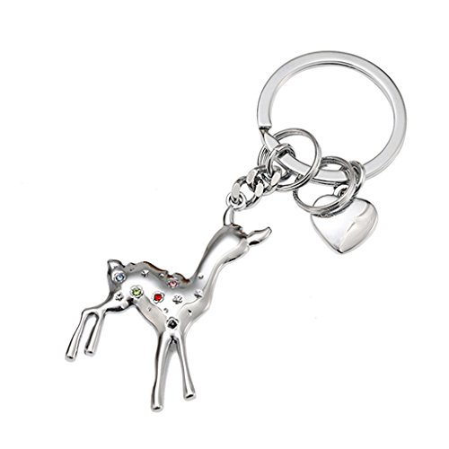 Key Men and Women Key Chain Creative Car Key Ring Pendant Cute Fawn Bag Ornaments (Color : Silvery)