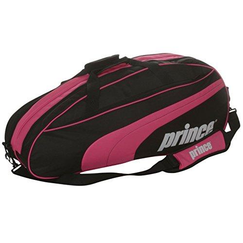 Club Racket Bag - Prince Club 6 Racket Tennis Bag Black/Pink Raquet Holdall Carryall H:72 x W:35 x D:15 cm