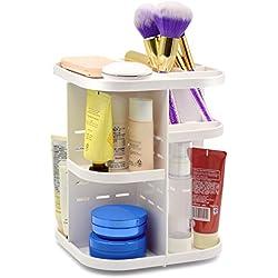 Becoyou Makeup Organizer 360° Rotating Acrylic Cosmetic Storage Case Revolving Shelf Display Make Up Storage Tower Rack Adjustable 5 Layers, White