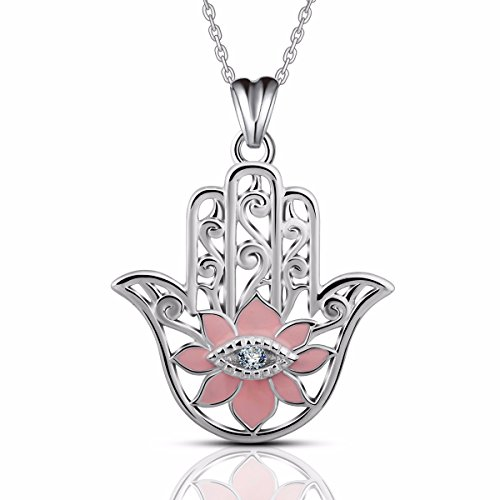 Charm Hamsa Necklace - EUDORA Evil Eye Sterling Silver Hamsa Hand of Fatima Khamsa Necklace Pendants for Mother Gifts for Her 18