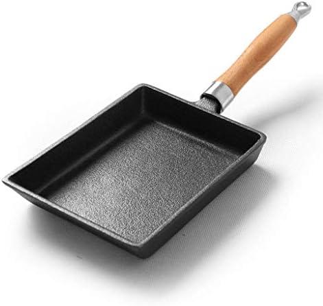 HYYDP Pot Poêle Casserole Omelette antiadhésive avec poignée Pancake RectanglePot en fonte RectanglePlaque à induction (20 * 15cm Noir)
