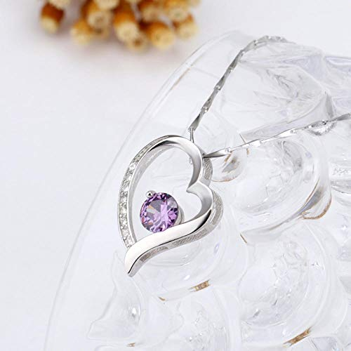 (Women's Silver Plated Necklace Micro Inlay Amethyst Drill Pendant Simple Joker Jewelry@Purple Diamond (with Necklace))