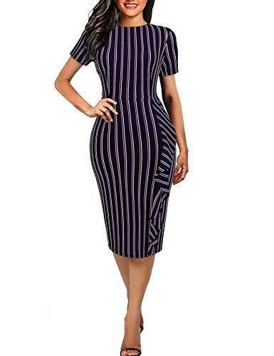 Naive Shine Women's Short Sleeve Retro Striped Office Bodycon Pencil Dress Navy Blue Size - Striped Sheath