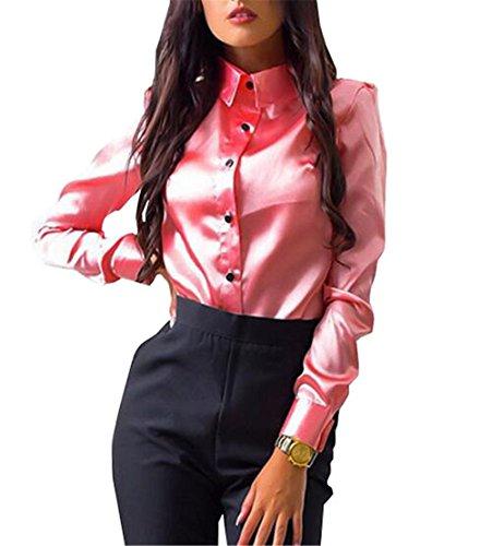 Femme T GEIUEIMAN Pink Shirt Dcontracte Tendance Longue Col Slim Unie Couleur Blouse Manche Chemises Rond Classique Fit qdFtF