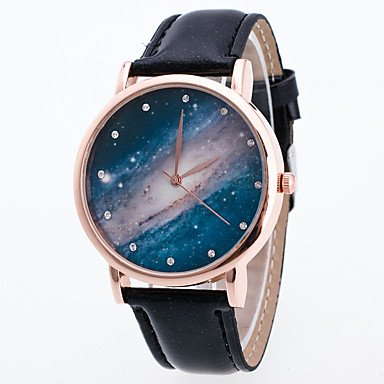ファッション腕時計ヴィンテージクロックウォッチレディースレザーストラップ20 mmブレスレットStar Moon Phaseレディース腕時計Montre Femme手首腕時計Relogio  ブルー For Lady-One Size B07848KLTD