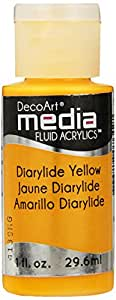 Deco Art Media Fluid Acrylic Paint, 1-Ounce, Diarylide Yellow