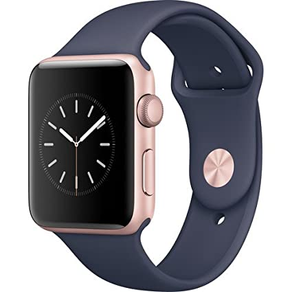 Apple Watch Series 2 Smartwatch 42mm Rose Gold Aluminum Case, Midnight Blue Sport Band (Refurbished)