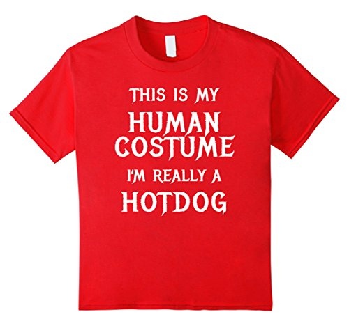 Child Hot Dog Funny Costumes (Kids Hotdog Halloween Costume Shirt Easy Funny Women Men Kids 12 Red)