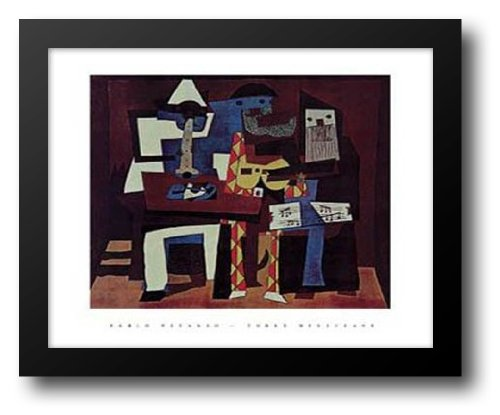 Three Musicians 18x15 Framed Art Print by Picasso, (Pablo Three Musicians Framed Art)