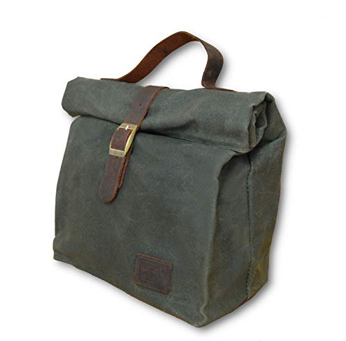 Insulated Waxed Cotton Canvas Lunch Bag for Men, Women w/Genuine Leather Details & Outside Pocket - Perfect For Work, School, Picnic or Travel - Designer Tote - Light Weight, Spacious, Collapsible