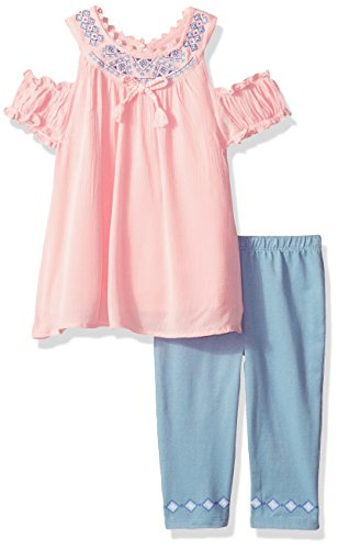 Nannette Toddler Girls' 2 Piece Crinkle Gauze Embelished Rhinestons and Knit Denim Jegging, Pink, (Embelished Denim)