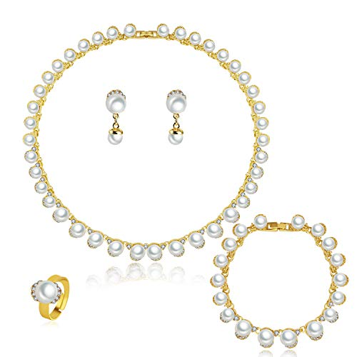 MOOCHI 18K Gold Plated White Man-Made Pearls Chain Jewelry Set 18k Pearl Jewelry Set
