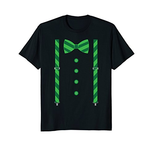St. Patrick's Day Shamrocks Bow Tie and Suspenders T-Shirt