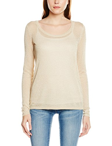L PB Pull Beige Femme Tone Tone Detail Knit In Frosted lurex Viinch Almond S Vila Top Is yqAXYww5