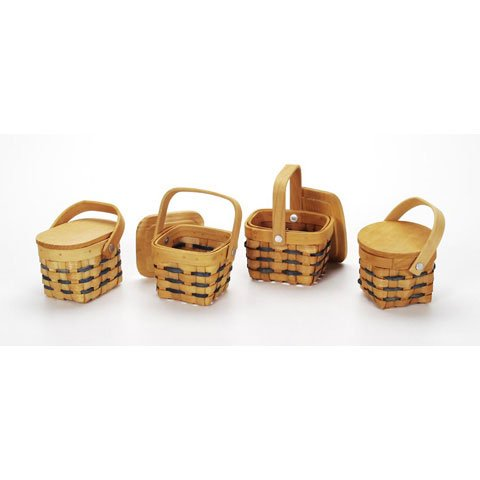 Bulk Buy: Darice DIY Crafts Country Mini Basket With Wood Lid 2.5 x 3.5 inches 4 Assorted Styles (36-Pack) 2849-23