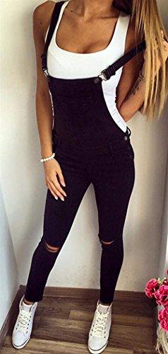 Tutine Lavoro Fashion Overall Nero Pantalone Abiti Casuali Elastico Grazioso Giovane Colori Skinny Eleganti Da Regolabile Solidi Straps Tuta Strappato Donna Women qwAanFgBw
