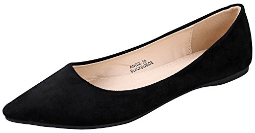 (Bella Marie BellaMarie Angie-28 Women's Classic Pointy Toe Ballet Flat Shoes Black Suede 6.5 B(M) US)