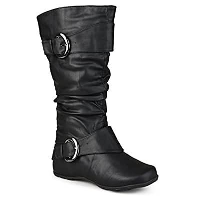 Journee Collection Womens Regular Sized and Wide-Calf Slouch Buckle Knee-High Boot Black 6
