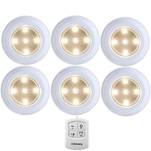 Puck Lights with Remote Control, Ellishang 6 Pack LED Tap Lights Battery-powered Wireless Night Lights Kitchen Under Cabinet Lighting,Stick on Push Lights for Closets,Pantries (Warmwhite) (Low Wireless Light)