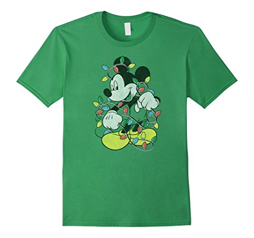 Mens Disney Mickey Mouse Christmas Lights T Shirt