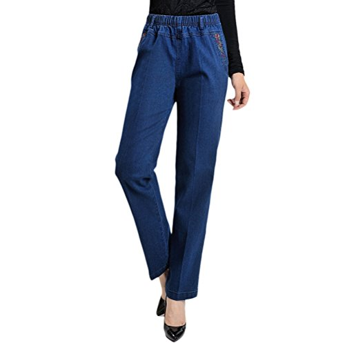 with Belle Waist Skinny Embroidery Ladies Jeans Pockets blue Blue Zhuhaitf Women for Black Mom Pants Spring High Autumn Qualit 6Oqwd