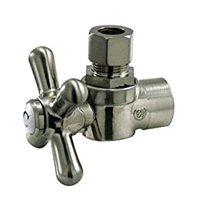 Kingston Brass CC43208X Vintage 1/2-Inch Sweat 3/8-Inch OD Angle Stop, Satin Nickel