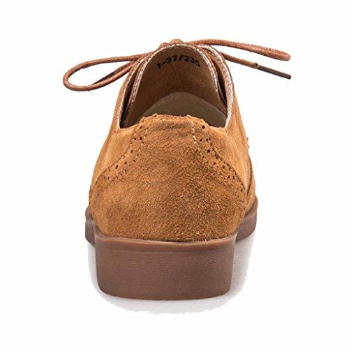 Cordones Gamuza Moonwalker Oxford Zapatos Mujer con de Marron PSRqgwRx