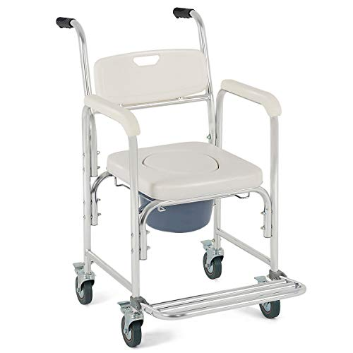 - 4-in-1 Rolling Casters Commode Toilet Seat Bedside Wheelchair Shower Chair w/Ebook