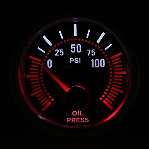 Durable Black Dial Red Point 52mm Universal 12V LED Smoke Len 0-100psi Oil Press Gauge Meter Black Dial Red Meter