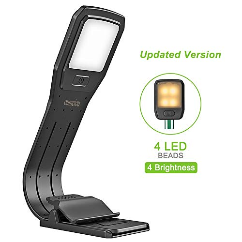 Book Light, Reading Light, oumeiou 4 Level Brightness LED Reading Light, Eye-Care Warm Reading Lamp USB Rechargeable and Portable, up to 25 Hours Reading, Clip Light for Night Reading