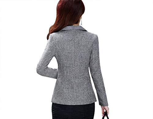 Primaverile Bavero Grau Manica Lunga Colori Elegante Donna Giacca Moda Giovane Giacche Vintage Cappotto Slim Women Business Solidi Con Autunno Da Fit Tailleur Blazer Button 5fnAZgp