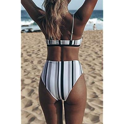 CUPSHE Women's Black White Grey Stripe Bikini Bowknot Shirred Swimsuit: Clothing