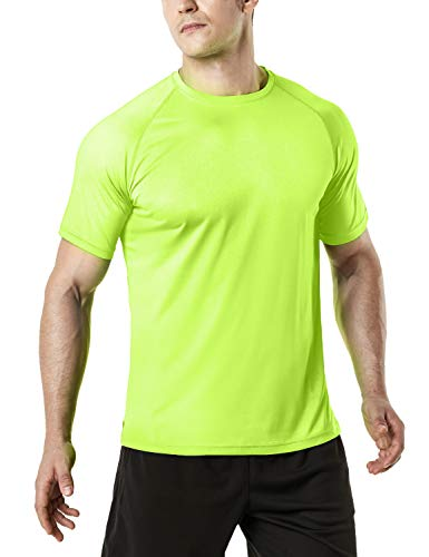 TSLA Men's HyperDri Short Sleeve T-Shirt Athletic Cool Running Top MTS Series, Athletic Short Sleeve(mts30) - Neon Yellow, X-Large