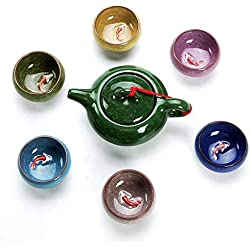 Longpro Rainbow Colors Ice Cracked Glaze Kung Fu Tea Sets (Cups with fish)