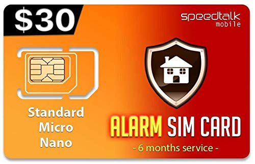 $30 GSM Alarm SIM Card | Home - Business Security Alarm System | No Contract - 6 Months Wireless Service (2G 3G 4G LTE) (Best No Contract Alarm System)