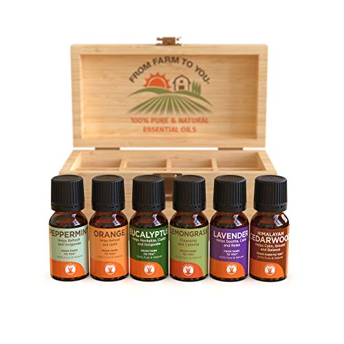GuruNanda Top 6 Singles Essential Oils Set With 8 Ct Wooden Box -100% Pure and Natural Therapeutic Grade Aromatherapy Oil- Includes Lavender - Peppermint - Eucalyptus - Lemongrass - Orange - Cedarwood