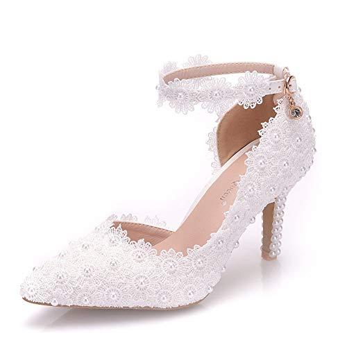 VINEIL Women Ankle Strap High Heels Sandals White Lace Pearls Party Evening Dress Wedding Shoes Pumps 9M