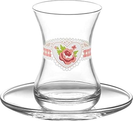 6x Teeglass Turkisch Tee  Pasabahce Teegläser Cay Bardagi Tee Glas Gläser