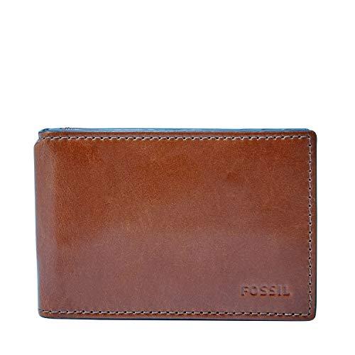 Fossil Men's Hugh Leather RFID Blocking Money Clip Bifold Wallet (Clip United Money Leather)
