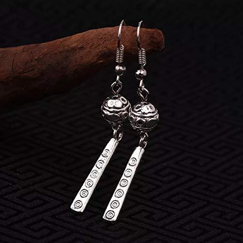 Mehrunnisa Tibetan Geometric Oxidized Silver Tone Earrings