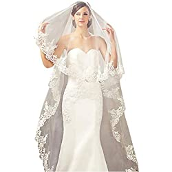Babyonline 1 Tier Lace Edge Tulle Catherdal Long Wedding Bridal, Ivory