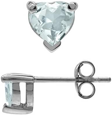 Petite Genuine 5MM Heart Shape Blue Aquamarine White Gold Plated 925 Sterling Silver Stud Earrings