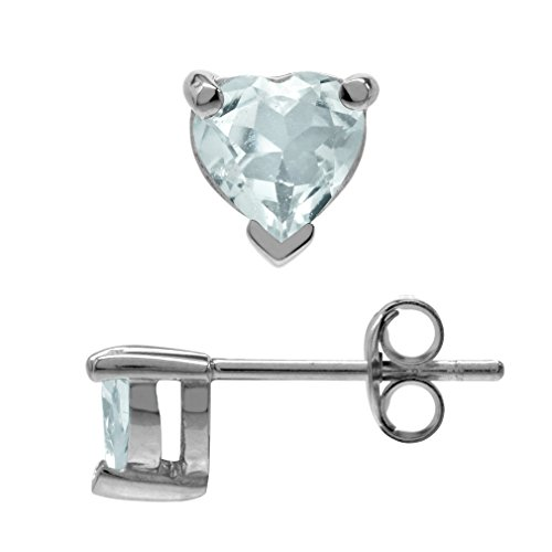 (Silvershake Petite Genuine 5mm Heart Shape Blue Aquamarine White Gold Plated 925 Sterling Silver Stud Earrings)