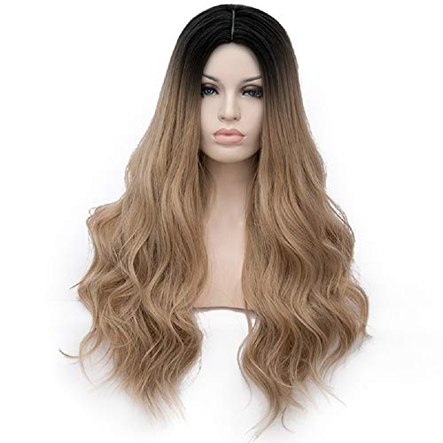 Alacos Black Roots Ombre 70CM Long Curly Wavy Synthetic Christmas Anime Cosplay Daily Costumes Wigs for Women +Wig Cap (Ombre Light Brown) ()