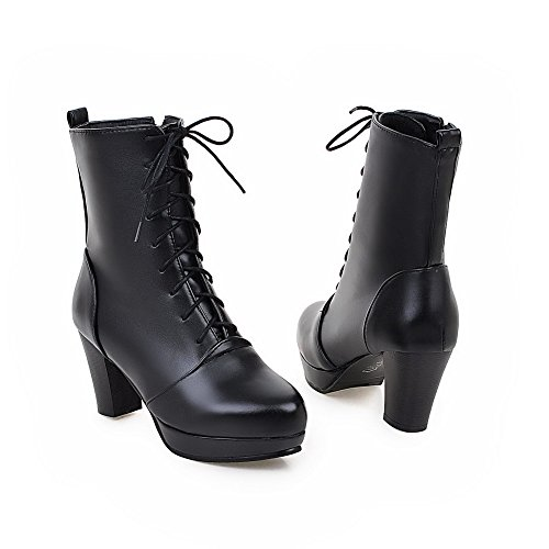 Soft Toe Black Round top Solid Material Heels Women's Low Closed WeiPoot Boots High XwF6qw