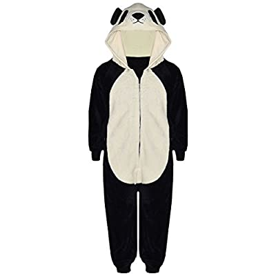 Kids Girls Boys Onesie Soft Fluffy Panda All In One Animal Costume 7-13 Years