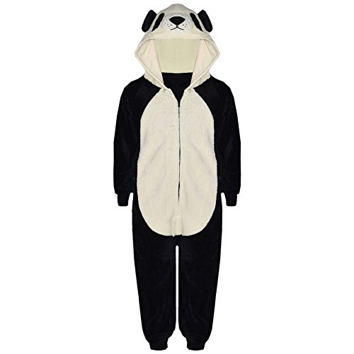 Kids Girls Boys Onesie Soft Fluffy Panda All in One Animal Costume 7-14 -